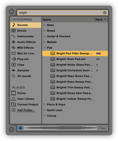 Ableton Live 9 Menu Section