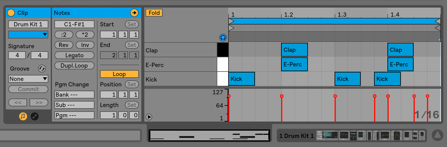 Editing MIDI Notes and Velocities — Ableton Reference Manual Version