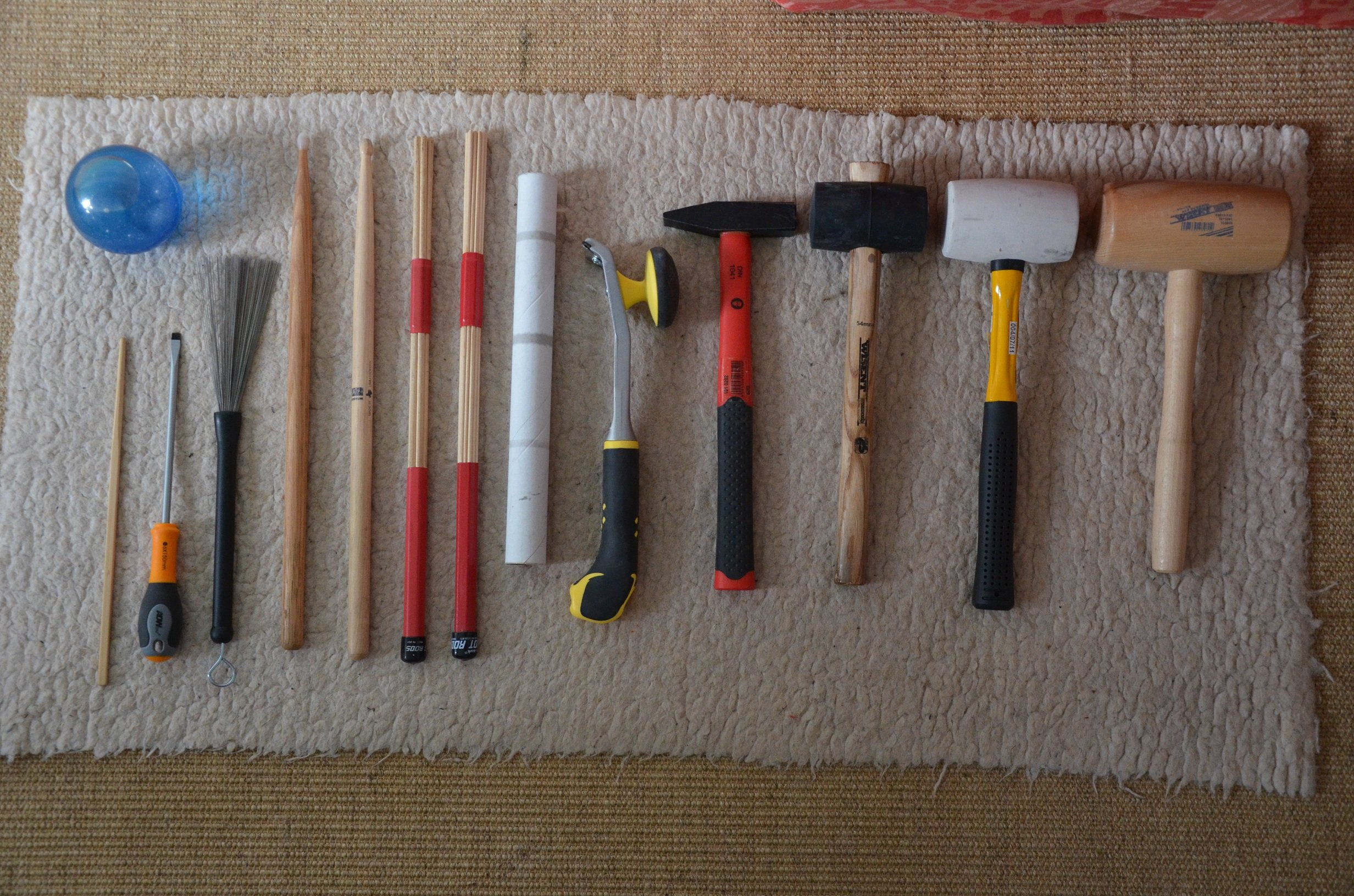 "some of Paul Maurer's ""Striking Tools"" for percussion design"