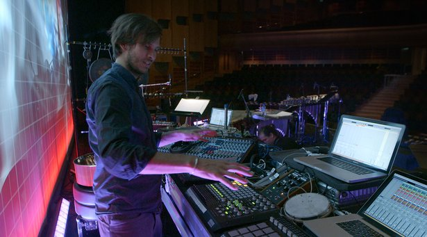 Pantha du Prince live setup at London's Barbican Theatre