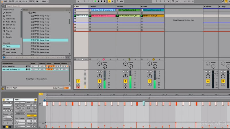 Using the groove pool in Ableton Live