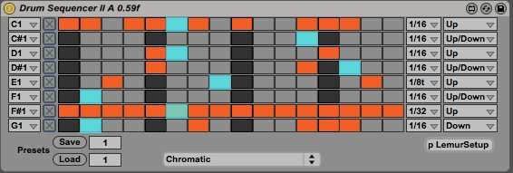 Mark Barrott's custom step sequencer for Max for Live, developed by Bjorn Vayner