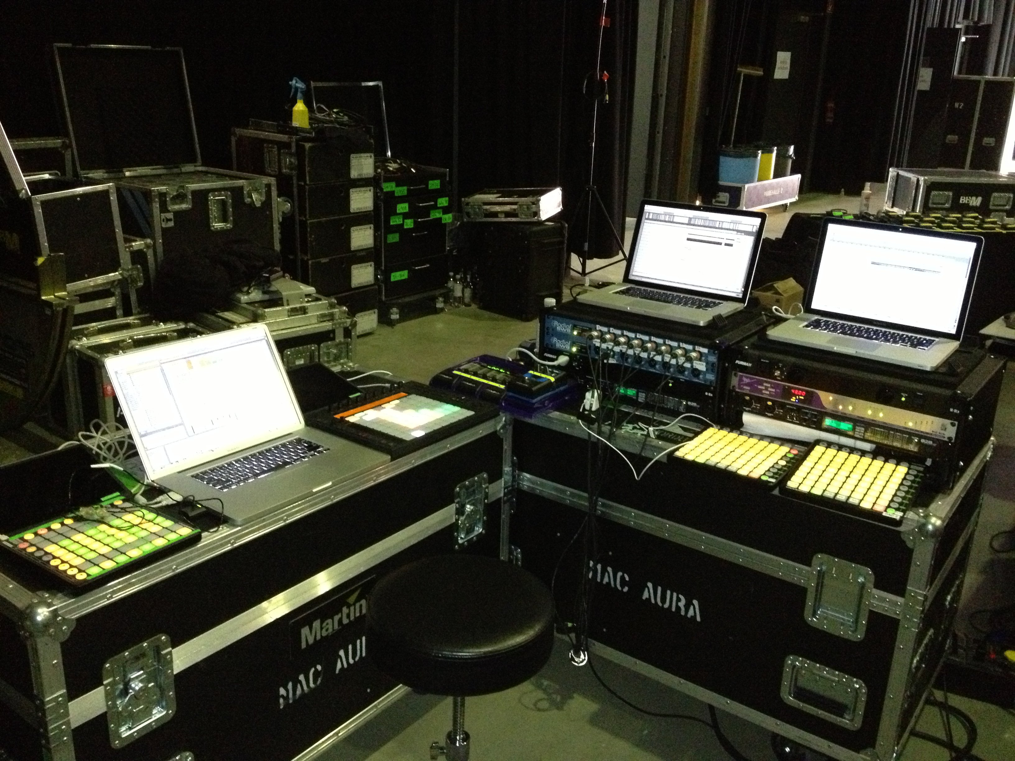 Jason Spanu's setup for Frank Ocean's  live show. Photo by Christopher Drost.