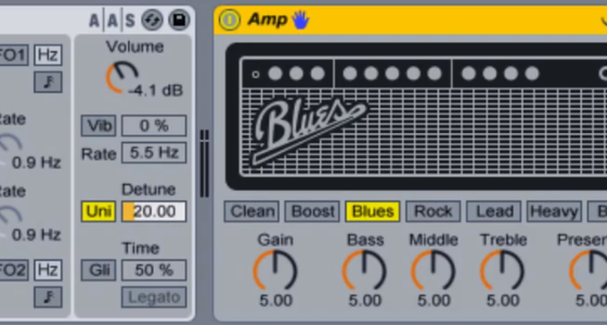 Make a filtered envelope bass sound with Analog and Amp